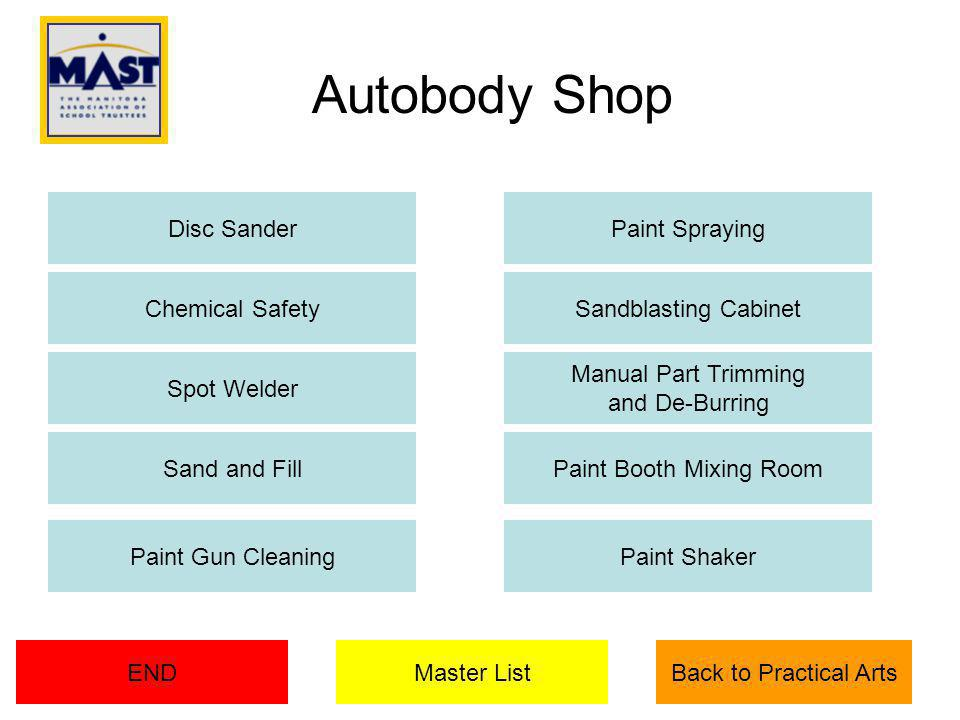 Chemical Safety Manual Part Trimming and De-Burring Paint Booth Mixing RoomSand and Fill Master ListEND Paint Gun CleaningPaint Shaker Back to Practical Arts Paint SprayingDisc Sander Sandblasting Cabinet Spot Welder Autobody Shop