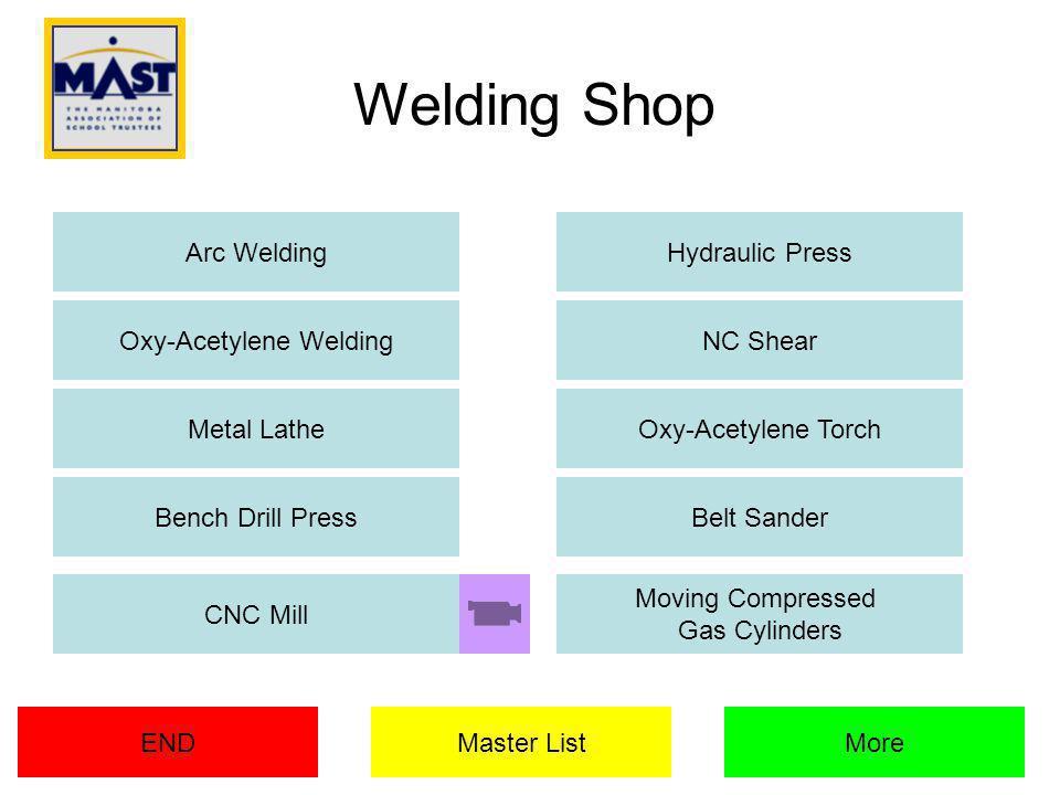 Welding Shop Arc WeldingHydraulic Press NC Shear Metal LatheOxy-Acetylene Torch Belt SanderBench Drill Press Master ListENDMore CNC Mill Moving Compressed Gas Cylinders Oxy-Acetylene Welding
