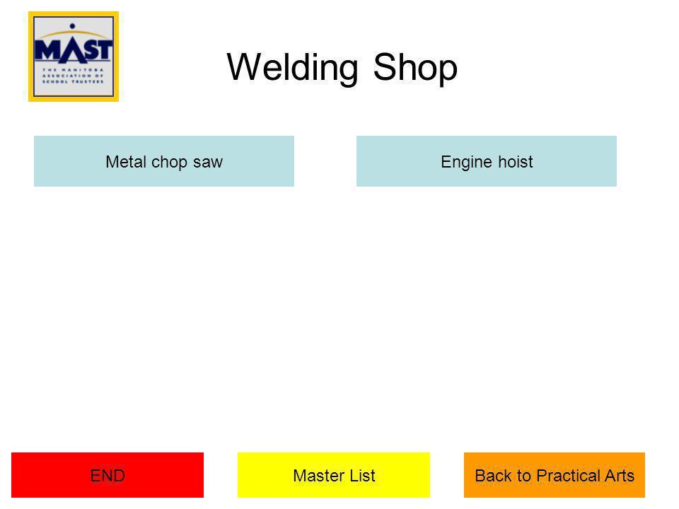 Metal chop sawEngine hoist Master ListENDBack to Practical Arts Welding Shop