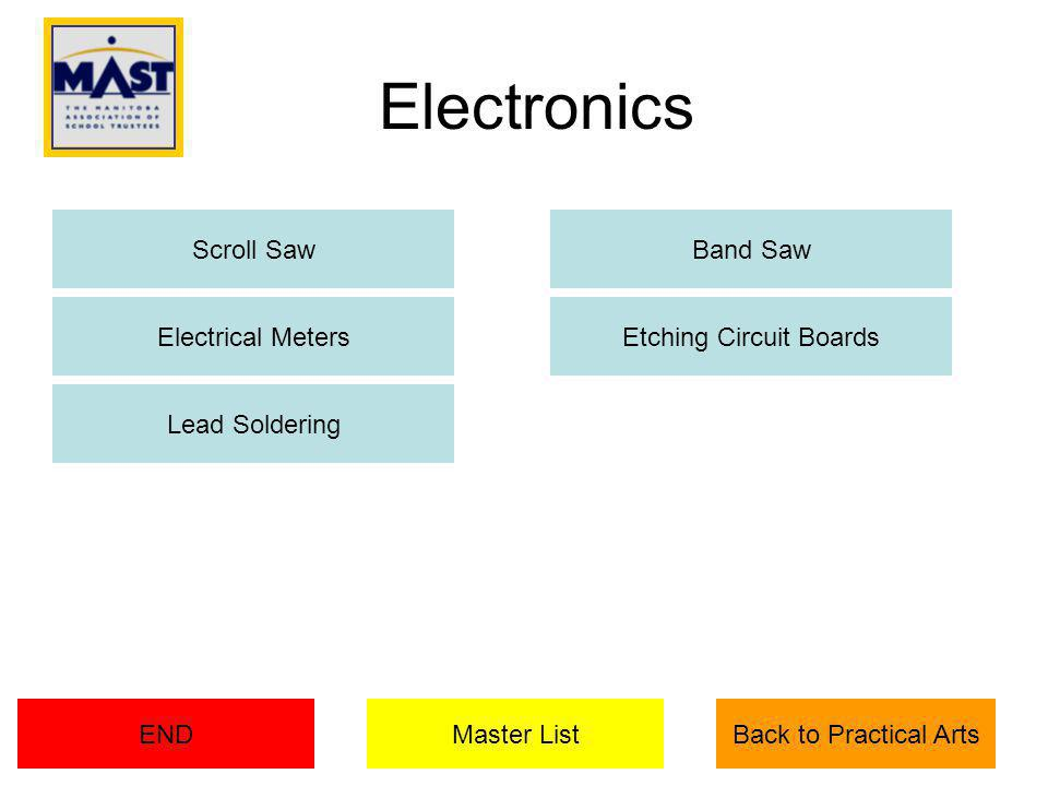Electronics Electrical MetersEtching Circuit Boards Lead Soldering Master ListEND Band SawScroll Saw Back to Practical Arts