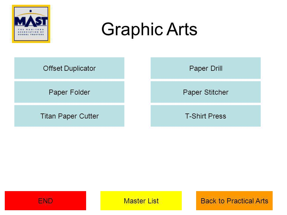 Graphic Arts Offset Duplicator Paper Folder Paper Drill Paper Stitcher Titan Paper CutterT-Shirt Press Master ListENDBack to Practical Arts