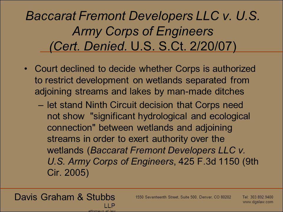 Davis Graham & Stubbs LLP attorneys at law 1550 Seventeenth Street, Suite 500, Denver, CO 80202 Tel: 303.892.9400 www.dgslaw.com Baccarat Fremont Developers LLC v.