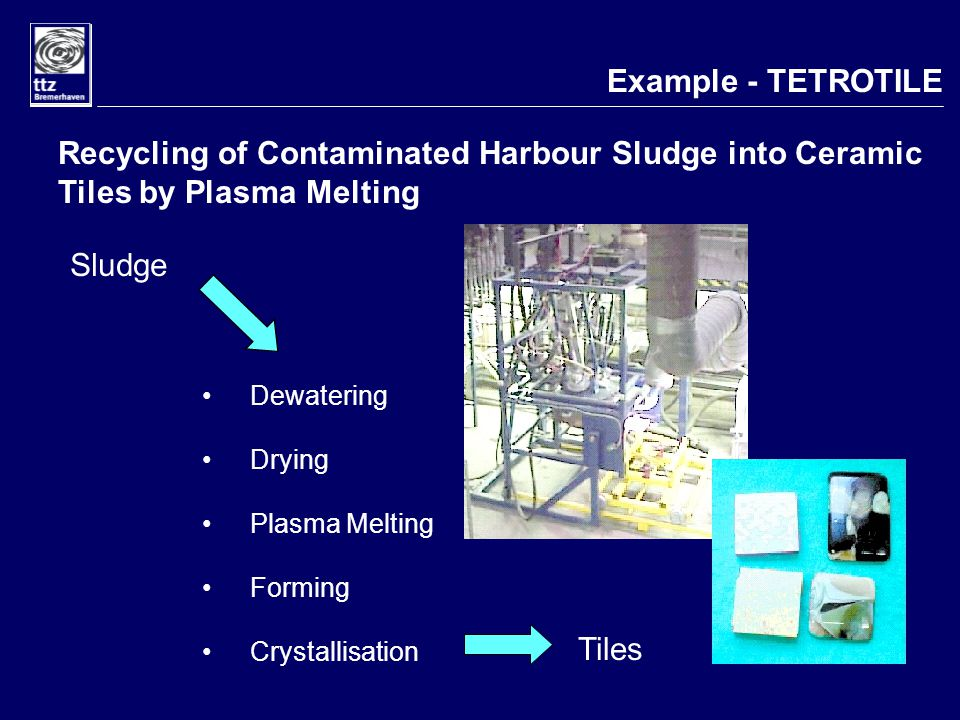 Example - TETROTILE Recycling of Contaminated Harbour Sludge into Ceramic Tiles by Plasma Melting Dewatering Drying Plasma Melting Forming Crystallisation Sludge Tiles