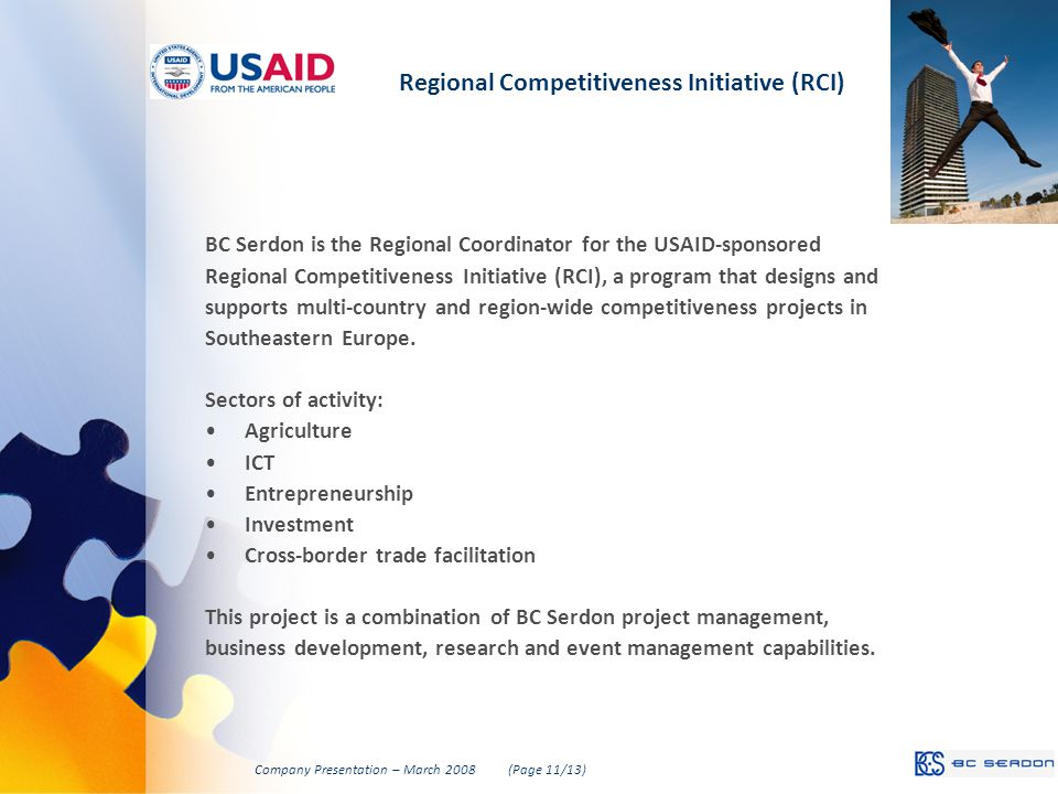 Regional Competitiveness Initiative (RCI) BC Serdon is the Regional Coordinator for the USAID-sponsored Regional Competitiveness Initiative (RCI), a program that designs and supports multi-country and region-wide competitiveness projects in Southeastern Europe.