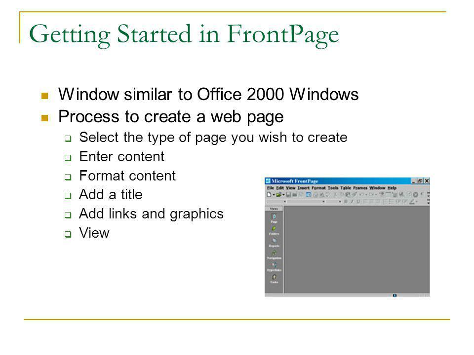 Authoring Software: MicroSoft FrontPage WYSIWYG Generates HTML code Benefits Non-technical users can create their own web pages Technical users can insert HTML inside the generated HTML