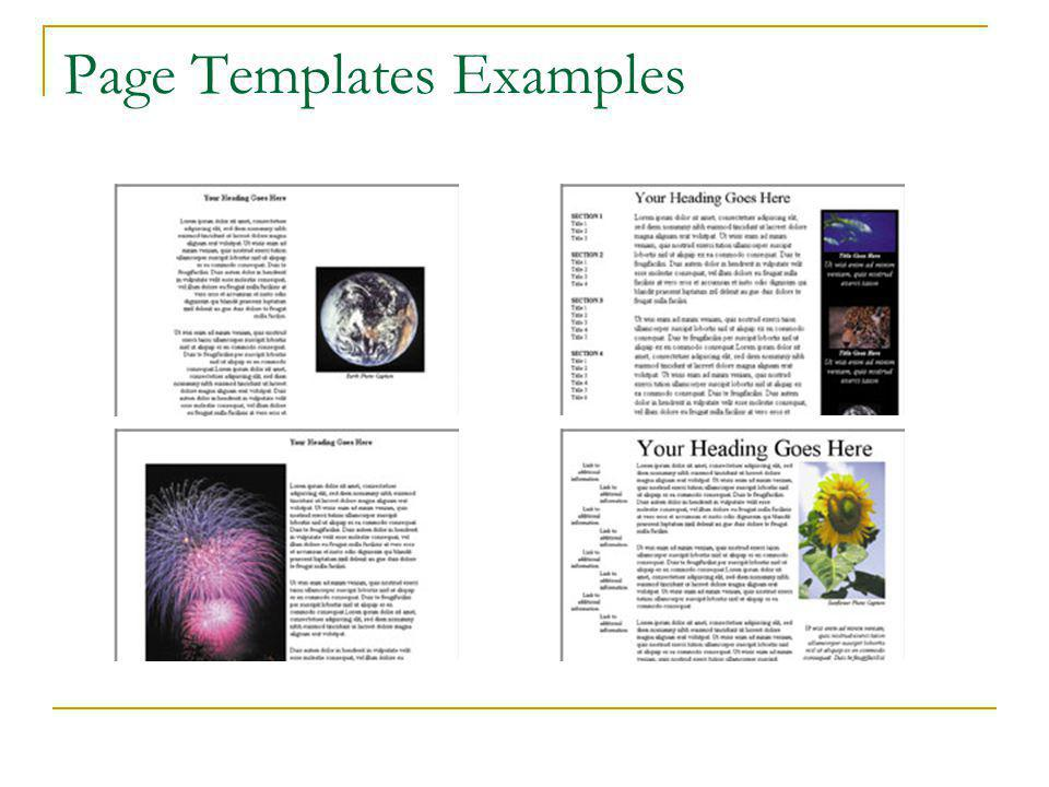 Page Templates Columns Table of contents Searches Guest book Bibliography FAQ Forms for visitors Forms for customers Predesigned pages that can contain page settings, formatting, and page elements