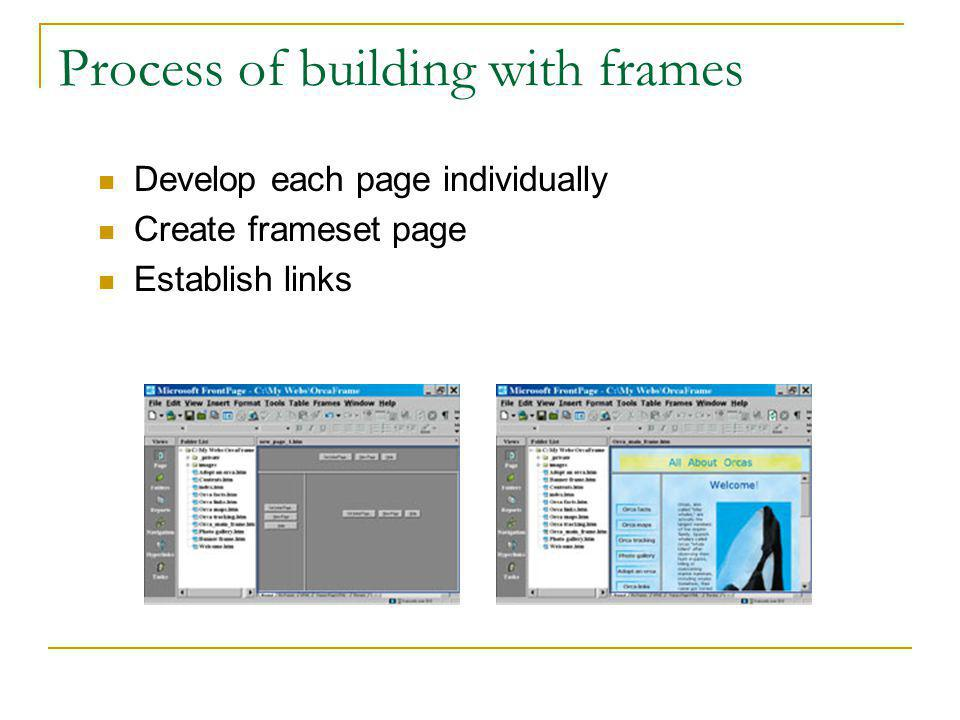 Frames Divides the page into sections Each section displays a different web page Each section can be updated individually Frameset – collection of fra