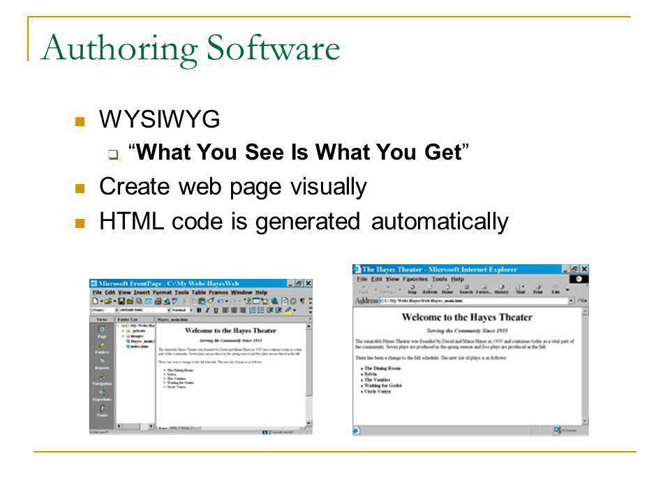 Programming in HTML Type tags into a text file (Notepad) HTML editor HTML code must be saved with.html extension