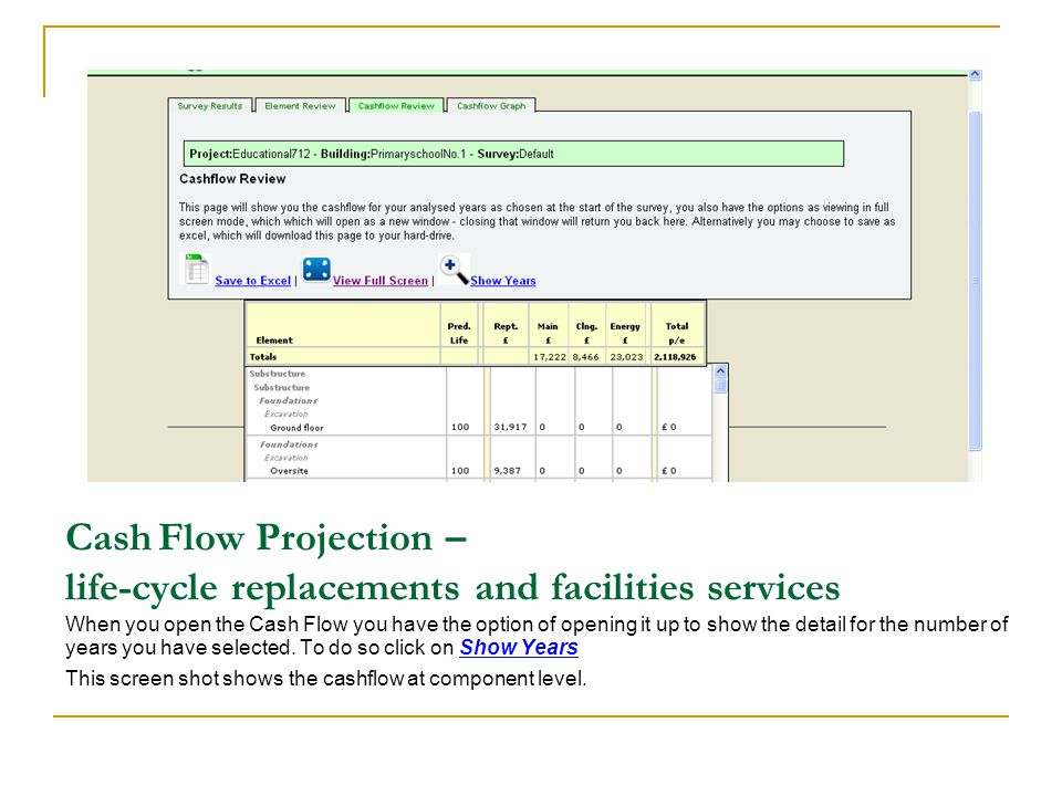 Cash Flow Projection – life-cycle replacements and facilities services When you open the Cash Flow you have the option of opening it up to show the de