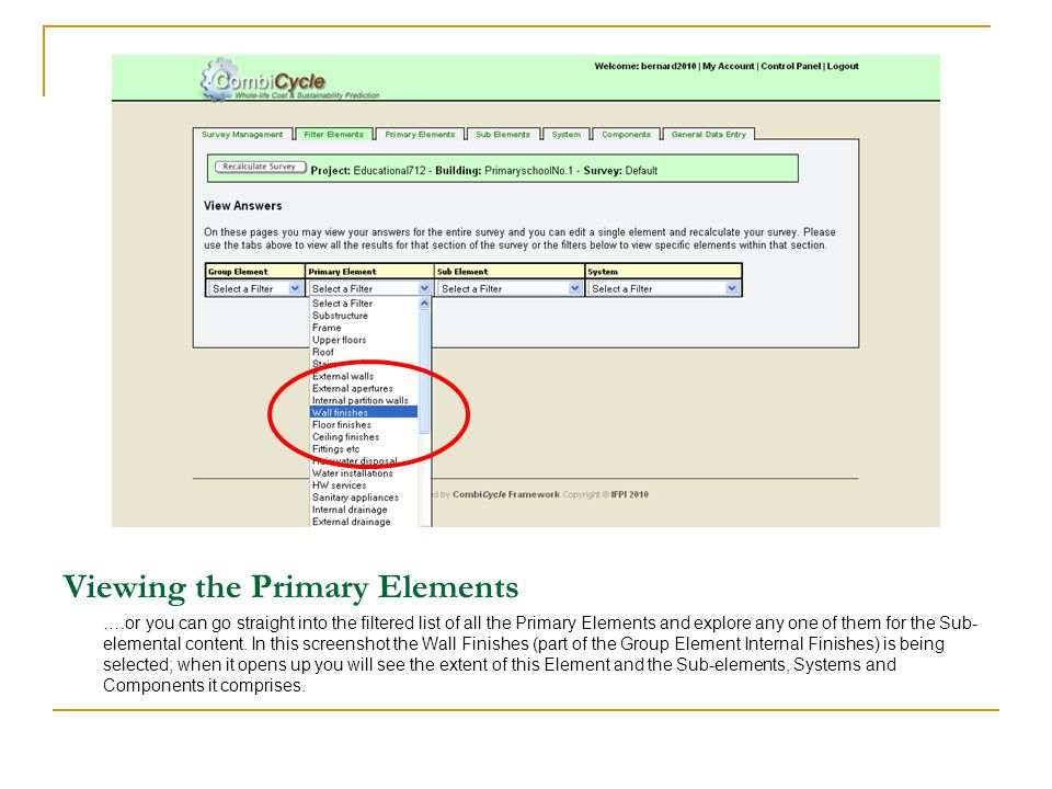 Viewing the Primary Elements ….or you can go straight into the filtered list of all the Primary Elements and explore any one of them for the Sub- elem