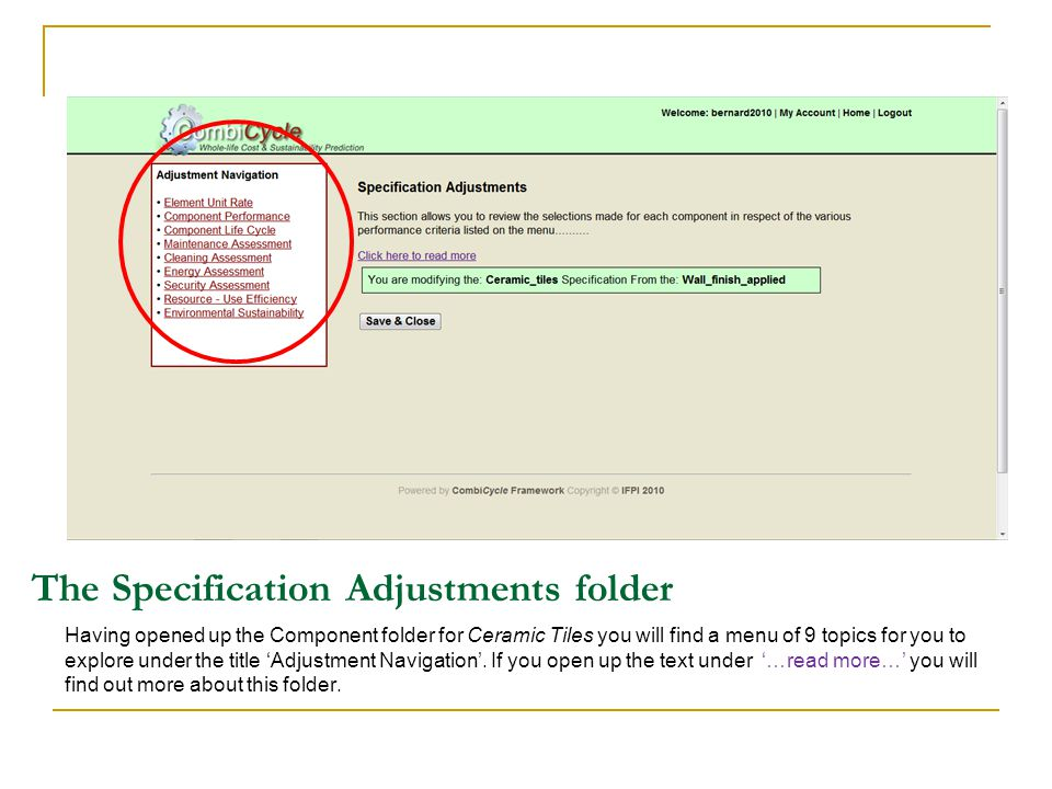 The Specification Adjustments folder Having opened up the Component folder for Ceramic Tiles you will find a menu of 9 topics for you to explore under