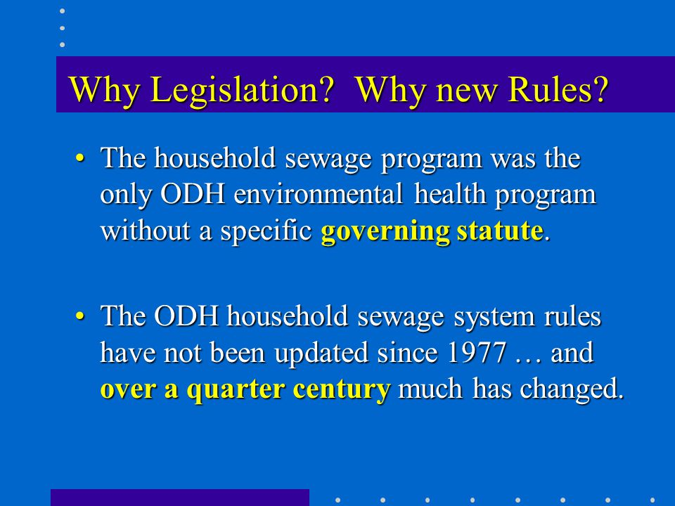Why Legislation. Why new Rules.