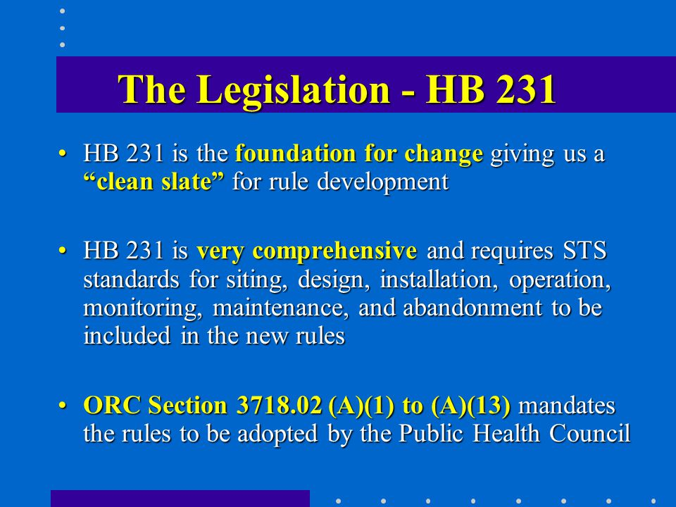 The Legislation - HB 231 HB 231 is the foundation for change giving us a clean slate for rule developmentHB 231 is the foundation for change giving us