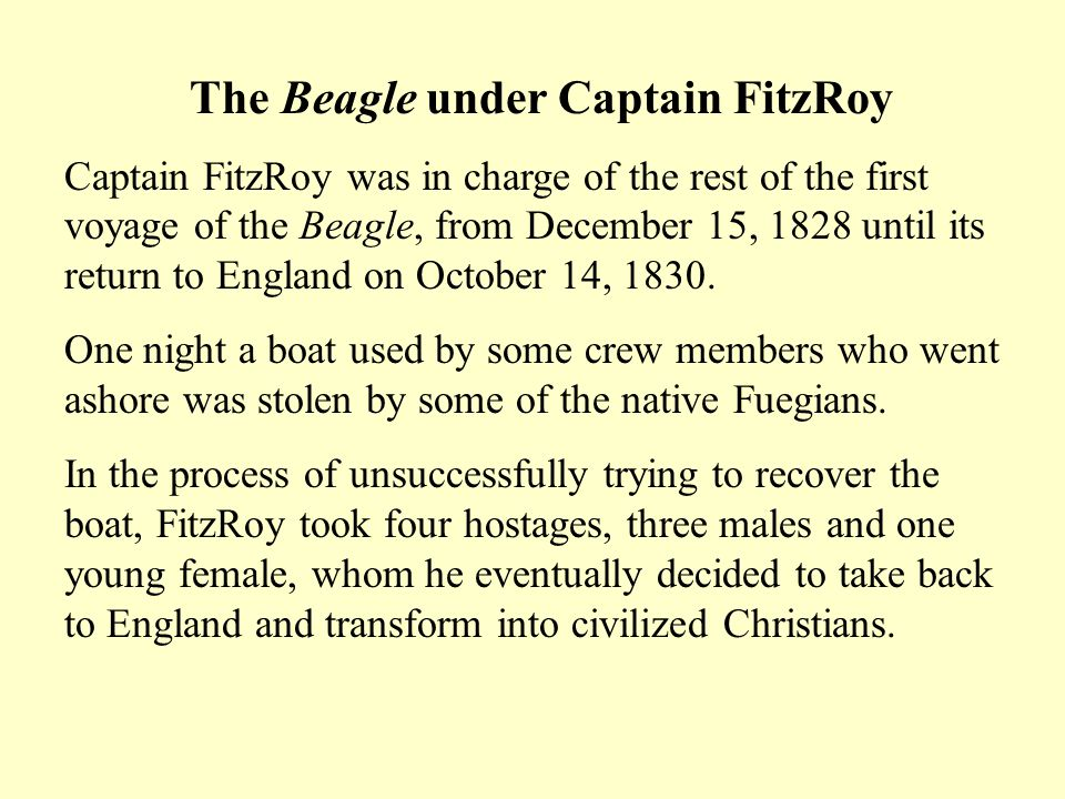 The Beagle under Captain FitzRoy Captain FitzRoy was in charge of the rest of the first voyage of the Beagle, from December 15, 1828 until its return