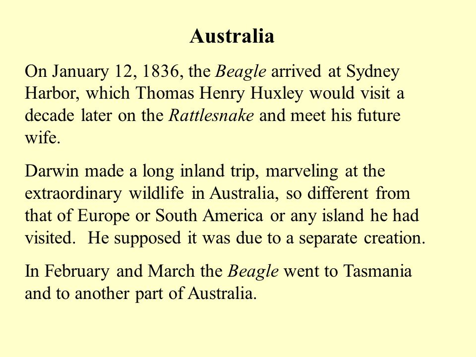 Australia On January 12, 1836, the Beagle arrived at Sydney Harbor, which Thomas Henry Huxley would visit a decade later on the Rattlesnake and meet his future wife.