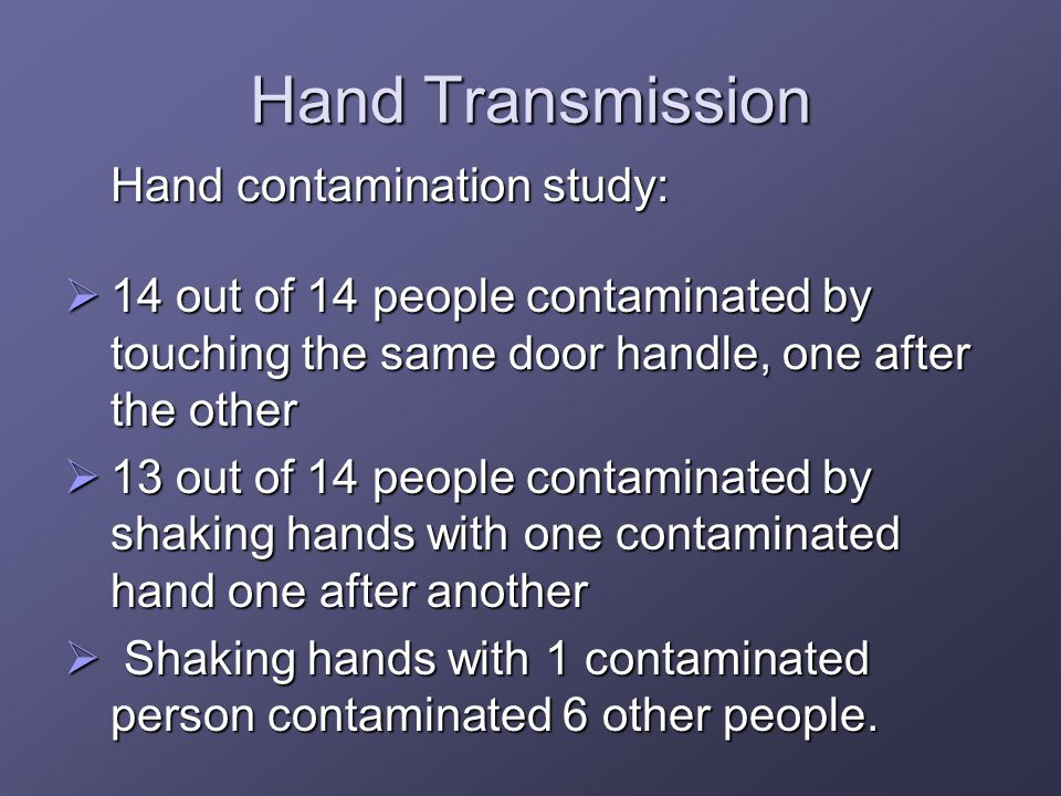 Hand Transmission Hand contamination study: 14 out of 14 people contaminated by touching the same door handle, one after the other 14 out of 14 people contaminated by touching the same door handle, one after the other 13 out of 14 people contaminated by shaking hands with one contaminated hand one after another 13 out of 14 people contaminated by shaking hands with one contaminated hand one after another Shaking hands with 1 contaminated person contaminated 6 other people.