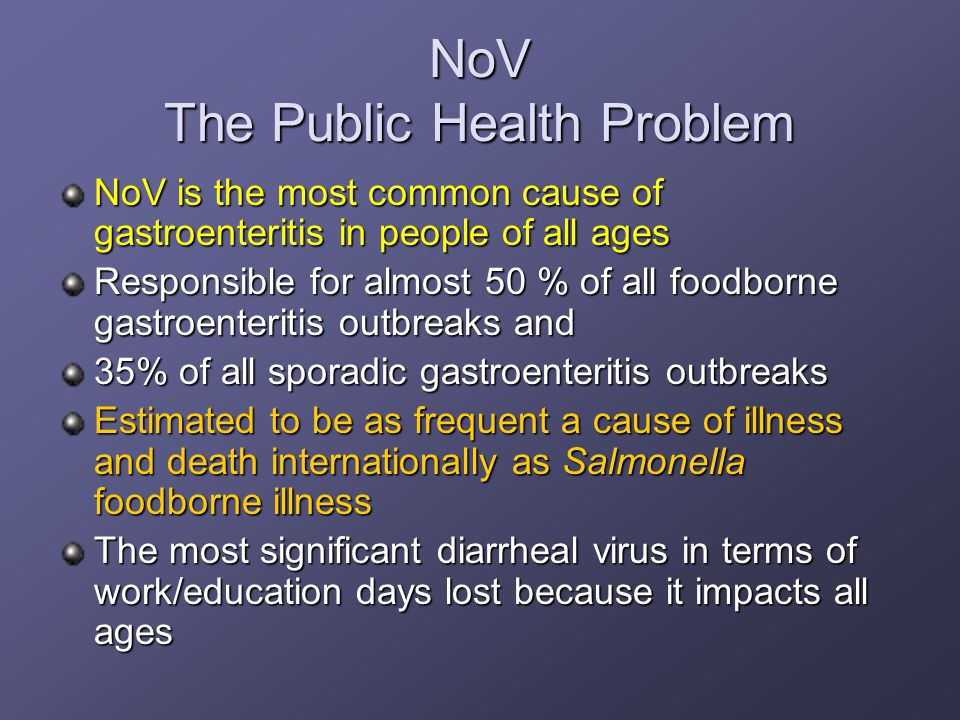 NoV The Public Health Problem NoV is the most common cause of gastroenteritis in people of all ages Responsible for almost 50 % of all foodborne gastroenteritis outbreaks and 35% of all sporadic gastroenteritis outbreaks Estimated to be as frequent a cause of illness and death internationally as Salmonella foodborne illness The most significant diarrheal virus in terms of work/education days lost because it impacts all ages