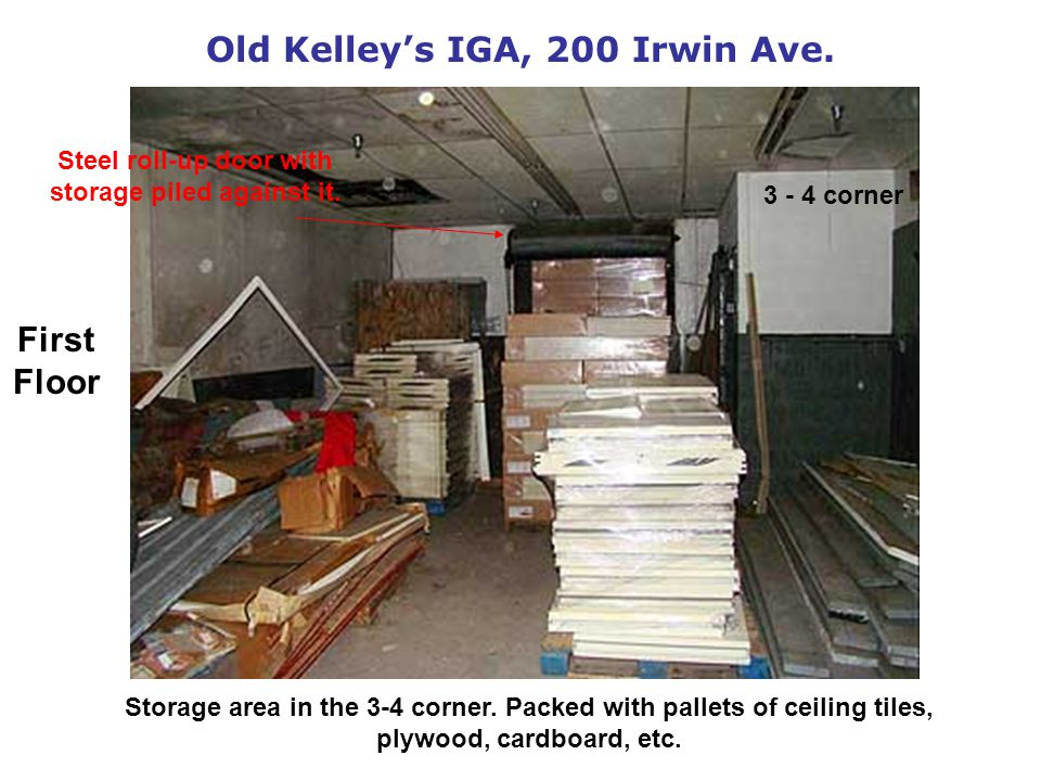 Old Kelleys IGA, 200 Irwin Ave. Storage area in the 3-4 corner.