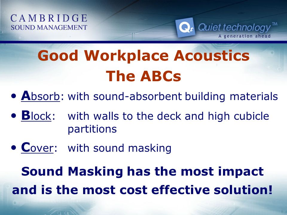 Good Workplace Acoustics The ABCs A bsorb:with sound-absorbent building materials B lock:with walls to the deck and high cubicle partitions C over: wi
