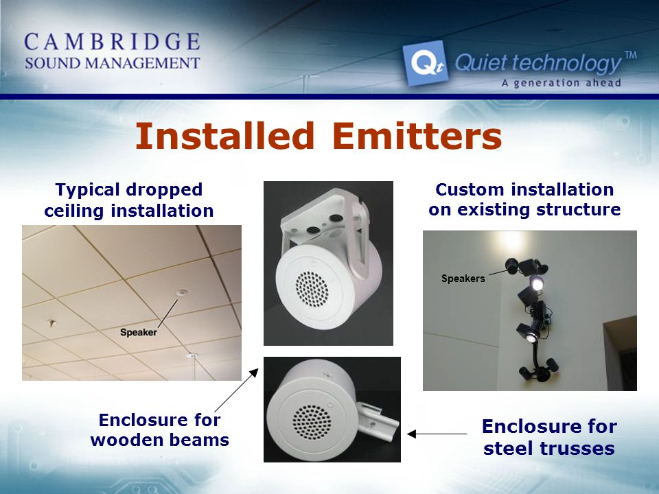 Installed Emitters Speakers Typical dropped ceiling installation Custom installation on existing structure Enclosure for wooden beams Enclosure for st