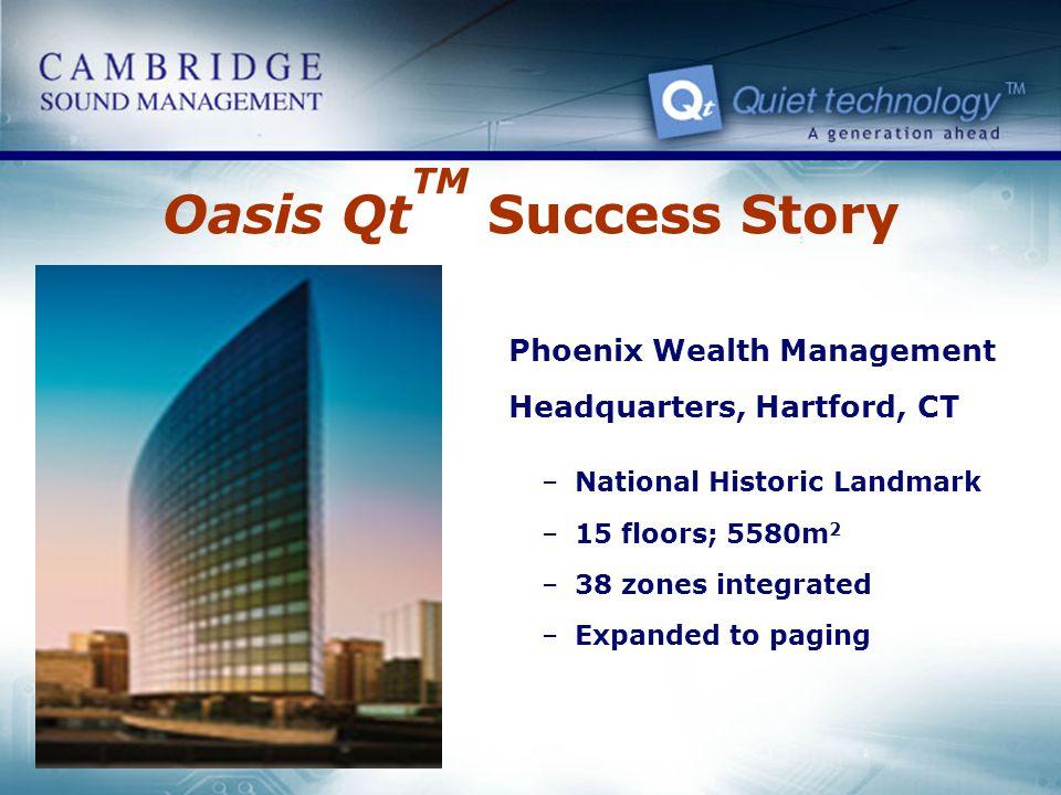 Oasis Qt TM Success Story Phoenix Wealth Management Headquarters, Hartford, CT –National Historic Landmark –15 floors; 5580m 2 –38 zones integrated –E