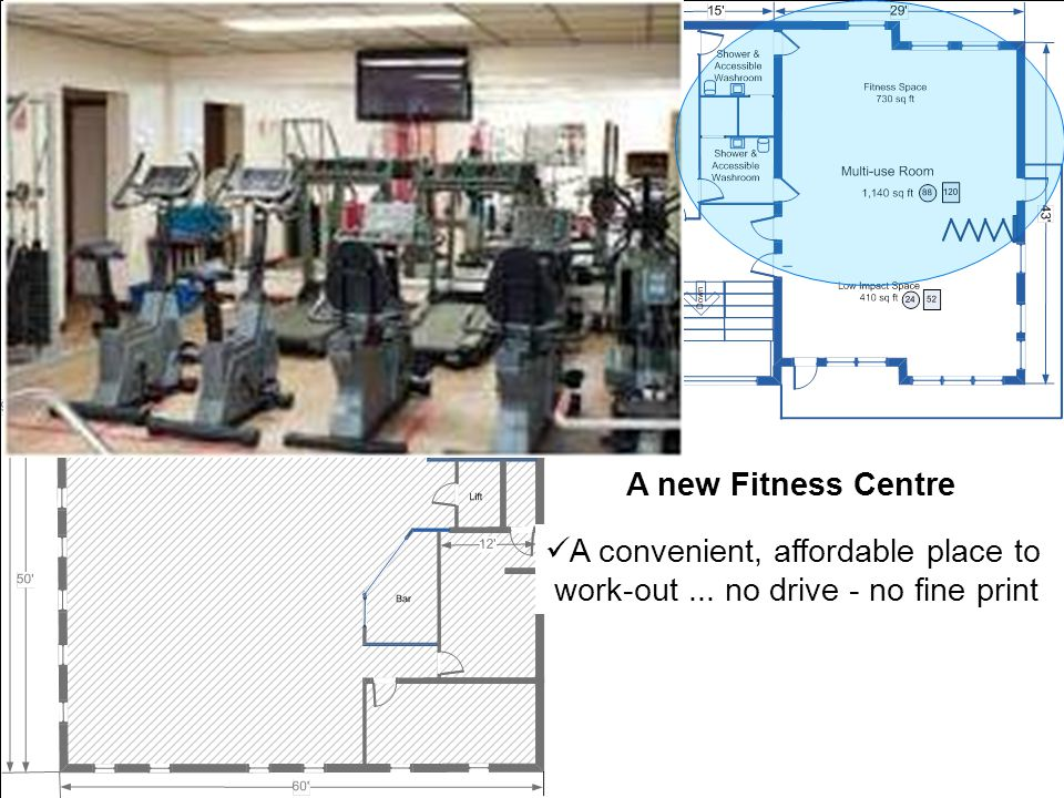 A new Fitness Centre A convenient, affordable place to work-out... no drive - no fine print