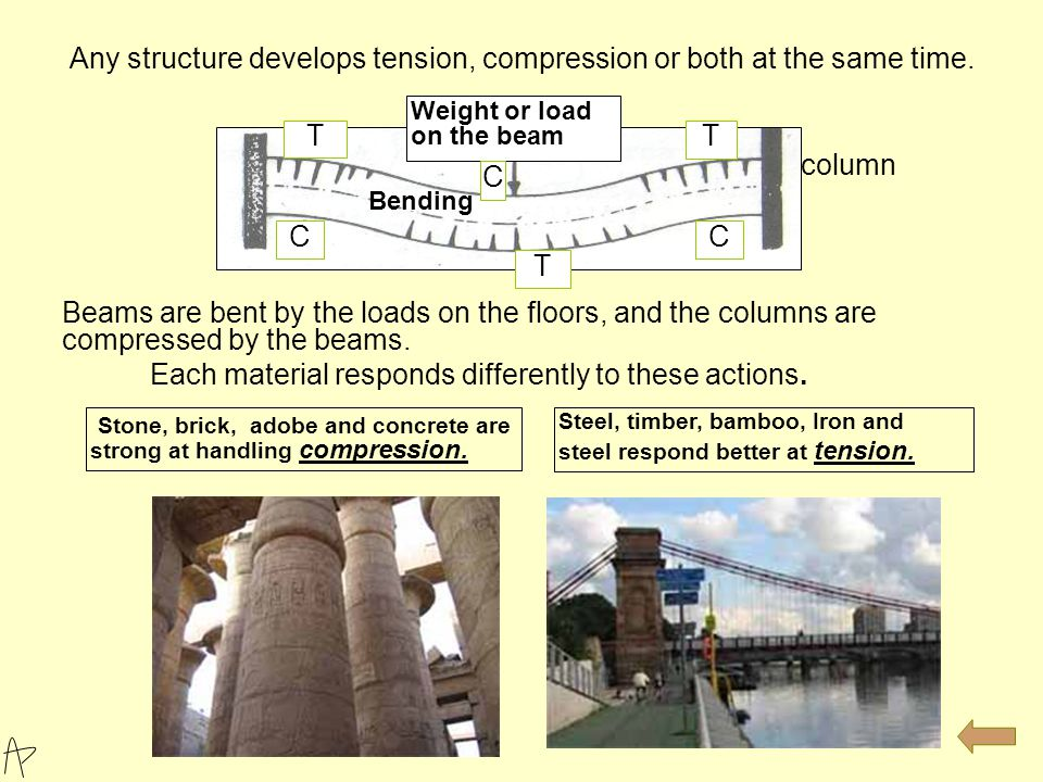 Basic Structural Principles: All structures have to stand static and dynamic loads or forces. - Compression tends to crush or squash the structure. -