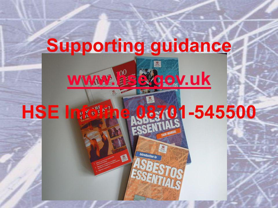 Supporting guidance   HSE Infoline