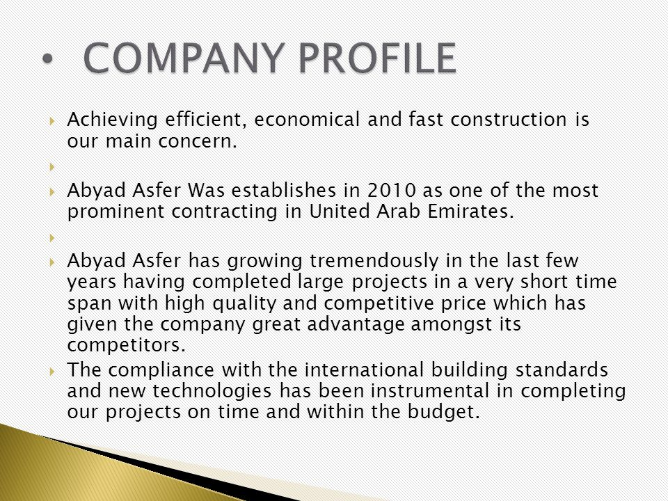 Achieving efficient, economical and fast construction is our main concern. Abyad Asfer Was establishes in 2010 as one of the most prominent contractin