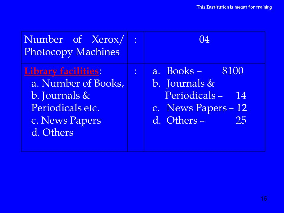 15 Number of Xerox/ Photocopy Machines :04 Library facilities : a. Number of Books, b. Journals & Periodicals etc. c. News Papers d. Others :a.Books –