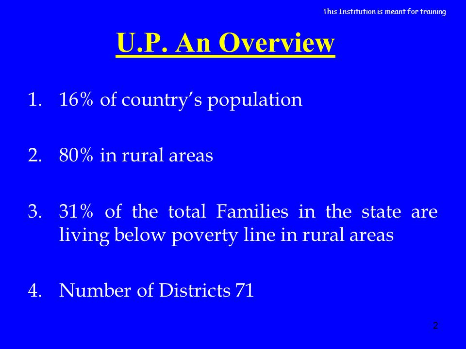 2 U.P. An Overview 1.16% of countrys population 2.80% in rural areas 3.31% of the total Families in the state are living below poverty line in rural a