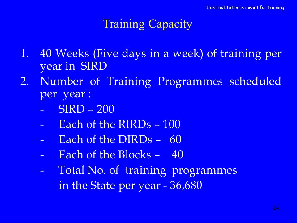 24 Training Capacity 1.40 Weeks (Five days in a week) of training per year in SIRD 2.Number of Training Programmes scheduled per year : - SIRD – 200 -