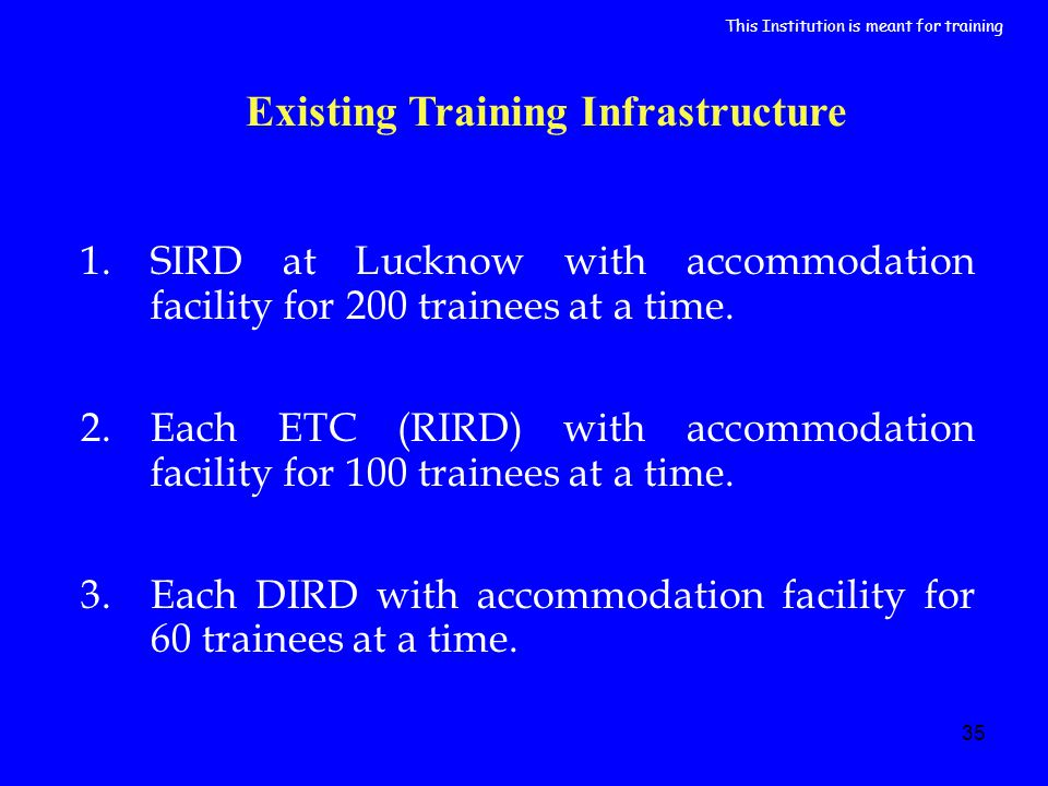 35 Existing Training Infrastructure 1.SIRD at Lucknow with accommodation facility for 200 trainees at a time.
