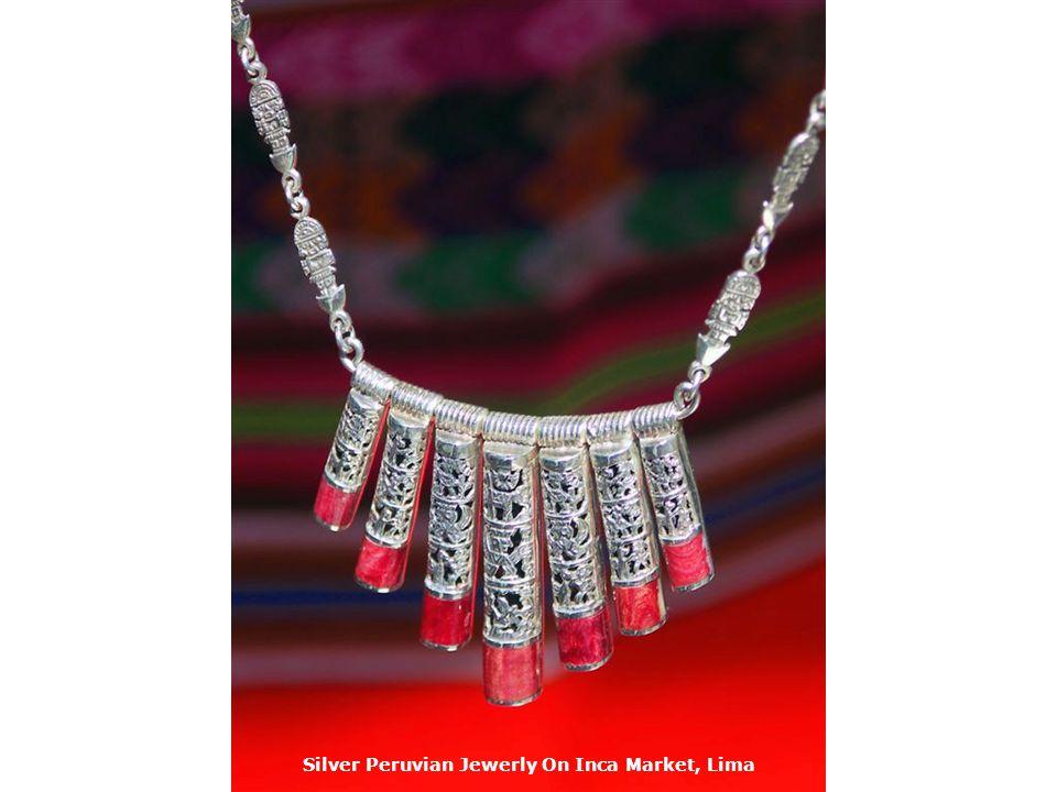Silver Peruvian Jewerly On Inca Market, Lima