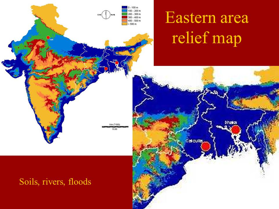 Eastern area relief map Soils, rivers, floods