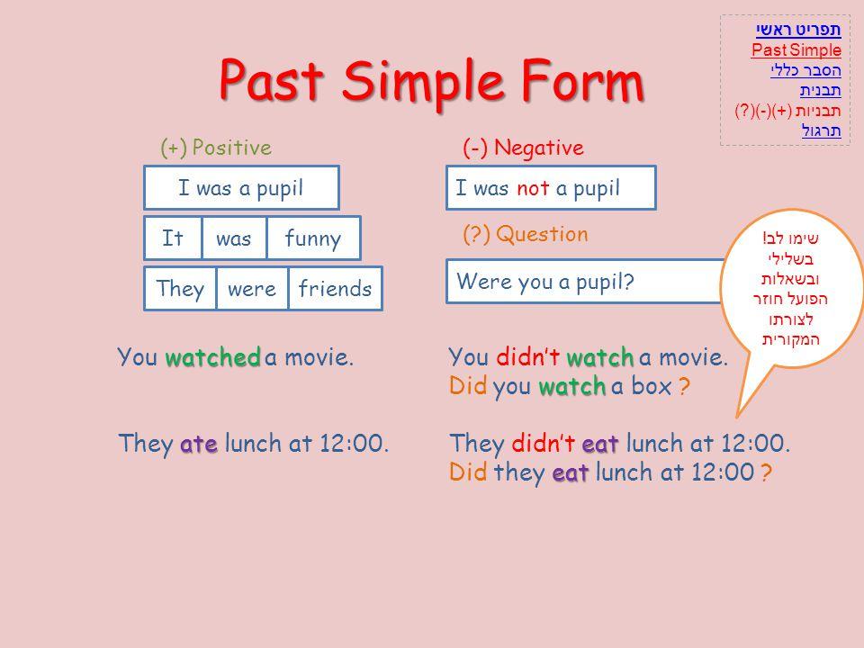 Past Simple Form I (-) Negative wasa pupilnotI was not a pupil (?) Question Youwerea pupil?Were you a pupil? (+) Positive Iwasa pupil Shewasfunny I wa