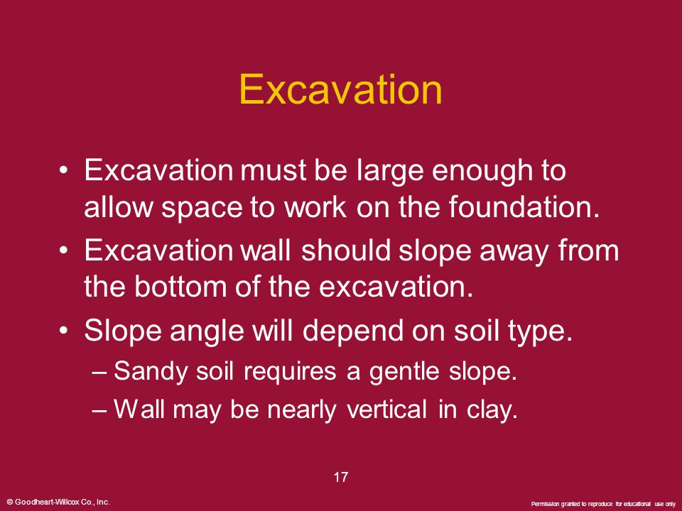 © Goodheart-Willcox Co., Inc. Permission granted to reproduce for educational use only 17 Excavation Excavation must be large enough to allow space to