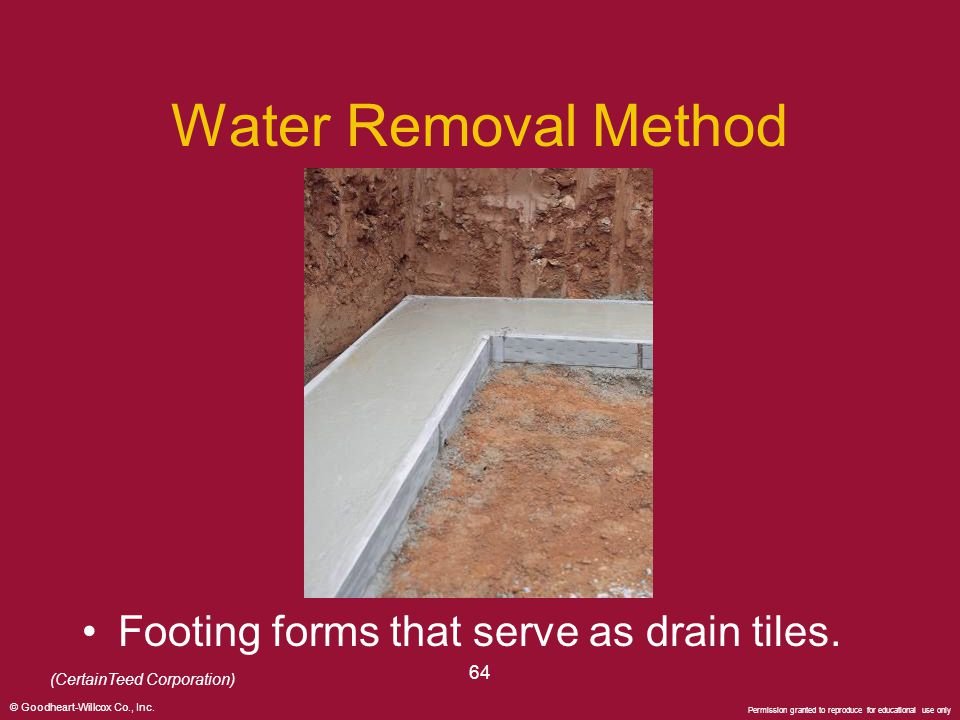© Goodheart-Willcox Co., Inc. Permission granted to reproduce for educational use only 64 Water Removal Method Footing forms that serve as drain tiles