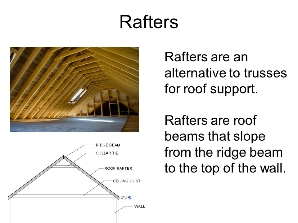 Rafters Rafters are an alternative to trusses for roof support. Rafters are roof beams that slope from the ridge beam to the top of the wall. Istockph