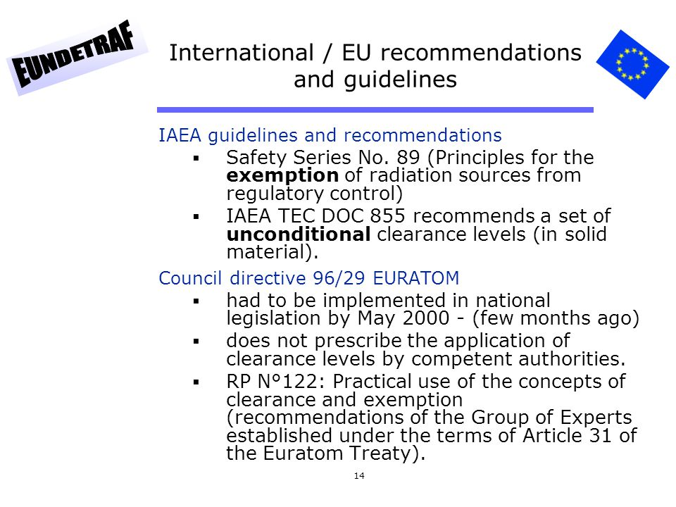 14 International / EU recommendations and guidelines IAEA guidelines and recommendations Safety Series No. 89 (Principles for the exemption of radiati