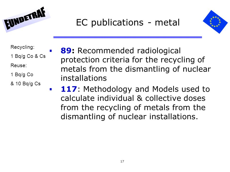 17 EC publications - metal 89: Recommended radiological protection criteria for the recycling of metals from the dismantling of nuclear installations