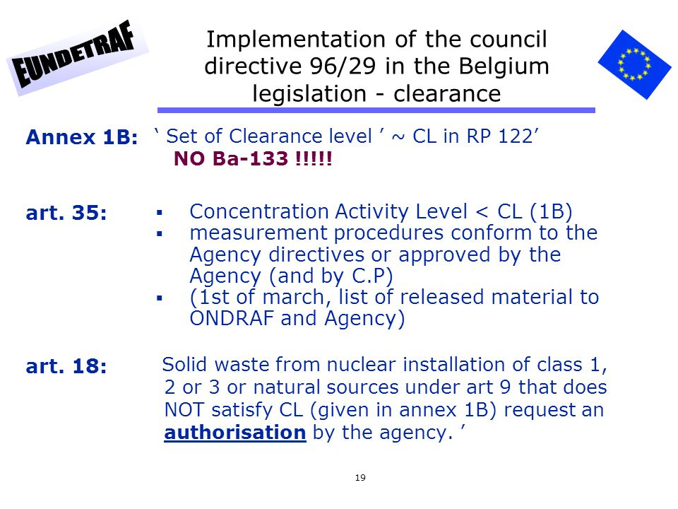 19 Implementation of the council directive 96/29 in the Belgium legislation - clearance Set of Clearance level ~ CL in RP 122 NO Ba-133 !!!!! Concentr