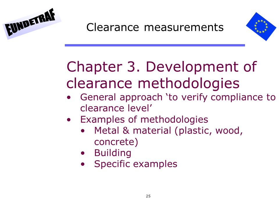 25 Clearance measurements Chapter 3. Development of clearance methodologies General approach to verify compliance to clearance level Examples of metho