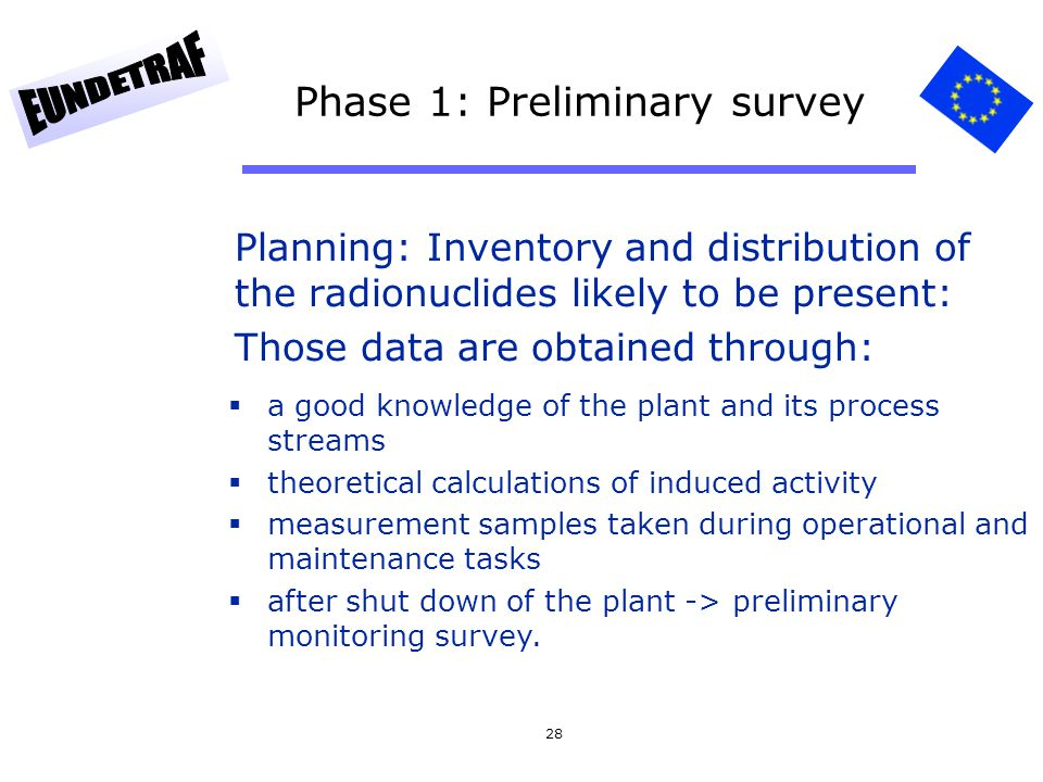 28 Phase 1: Preliminary survey Planning: Inventory and distribution of the radionuclides likely to be present: Those data are obtained through: a good