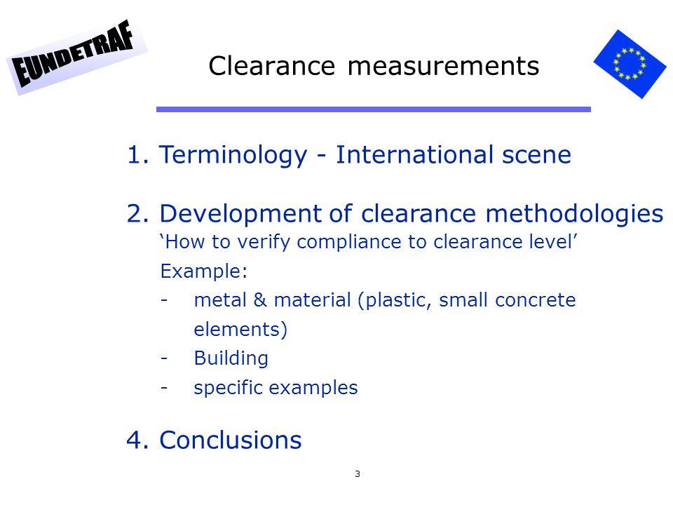34 Chapter 3: Development of clearance methodologies Methodologies….