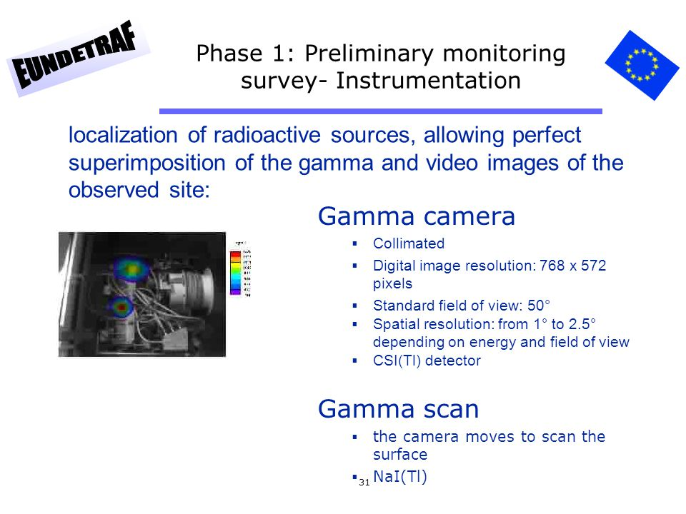 31 Phase 1: Preliminary monitoring survey- Instrumentation Gamma camera Collimated Digital image resolution: 768 x 572 pixels Standard field of view: