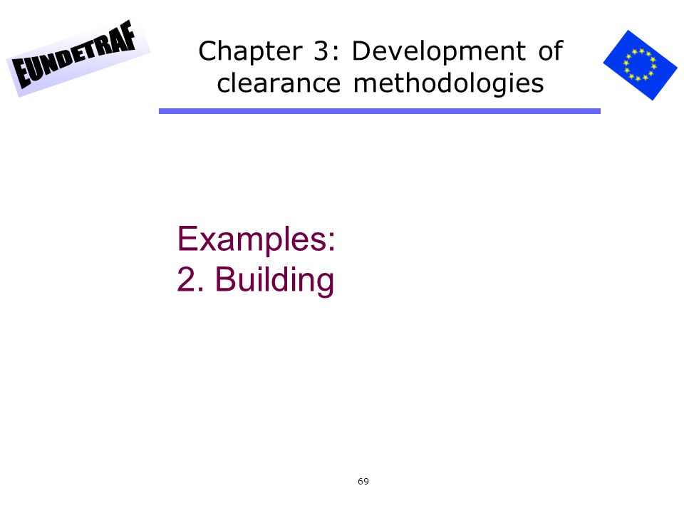 69 Chapter 3: Development of clearance methodologies Examples: 2. Building