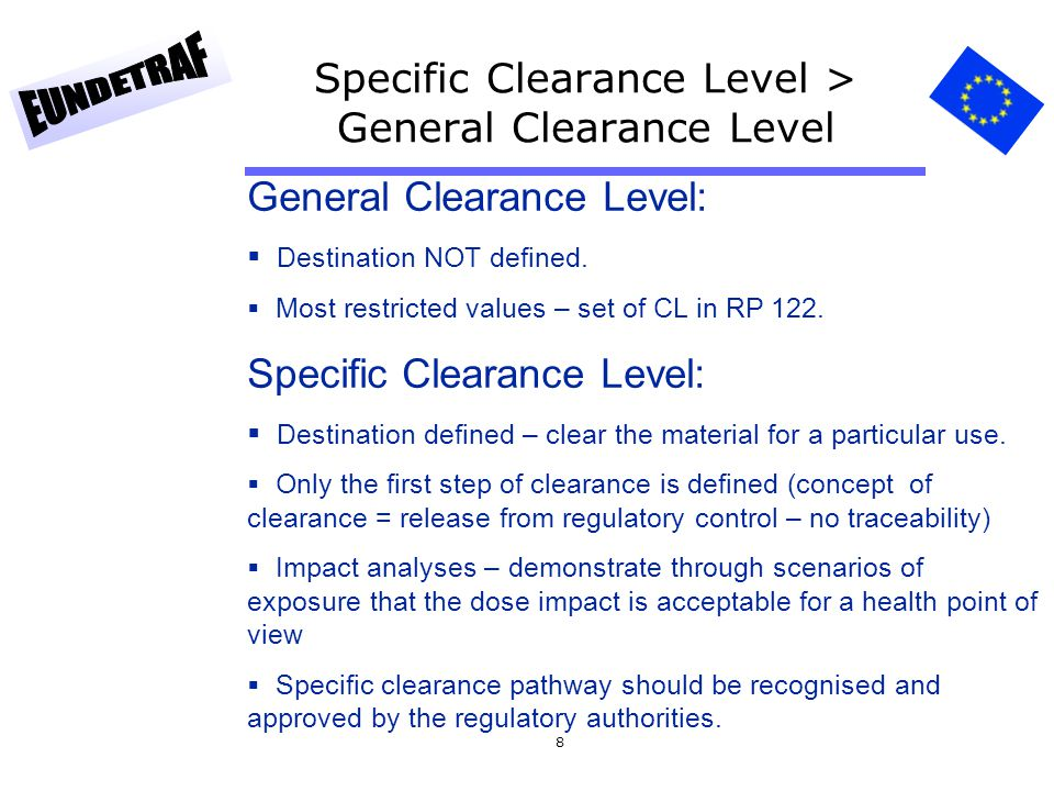 9 Clearance level (Bq/g) Criterium 10 µSv/a: Choice of scenarios Pathway of exposure Choice of parameter values Calculation of individual doses per unit activity concentration Identification of the limiting scenario and pathway Reciprocal individual doses yield activity concentrations corresponding to 10 µSv/a, rounded to a power of ten.