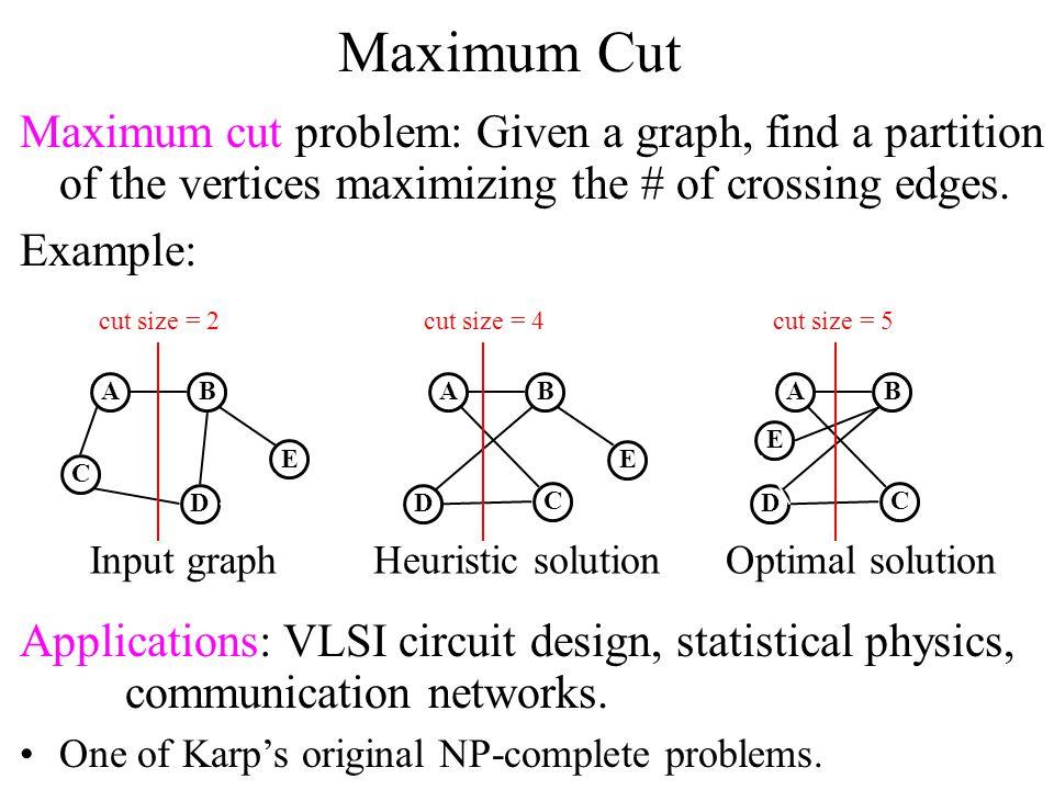 Maximum Cut Theorem [Karp, 1972]: The minimum vertex cover problem is NP-complete.