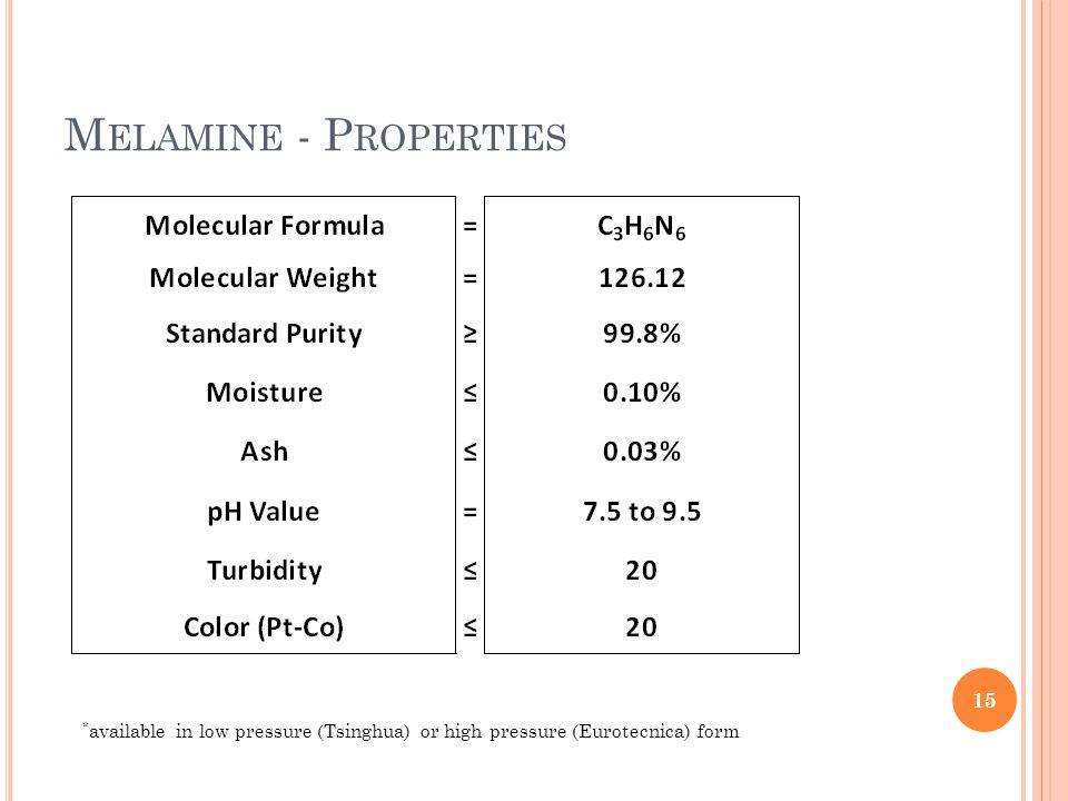 M ELAMINE - P ROPERTIES 15 * available in low pressure (Tsinghua) or high pressure (Eurotecnica) form